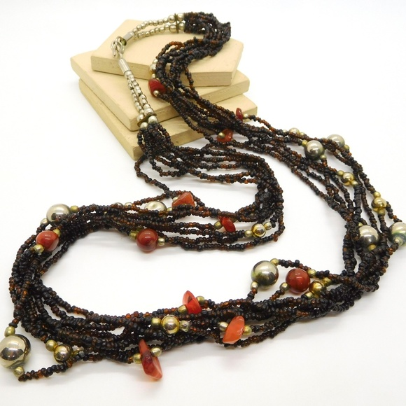 Vintage Jewelry - Vintage Brown Amber Glass Carnelian Bead Necklace